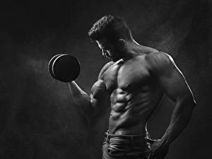 Fotos Mann Bodybuilding Hanteln Hand Schwarz weiß Sport