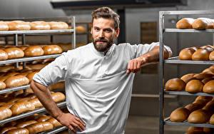 Hintergrundbilder Mann Brot Starren Küchenchef