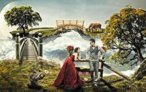 Hintergrundbilder Mann Brücken Waschbären Zwei Bäume Brille Kleid Fantasy