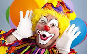 Bilder Mann Clown Hand Handschuh Make Up