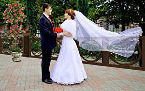 Bilder Mann Paare in der Liebe Hochzeit Brautpaar Bräutigam Zwei Kleid