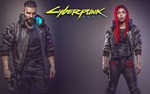 Bilder Mann Cyberpunk 2077 Rotschopf Fan ART Mädchens