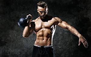 Wallpaper Men Fitness Belly Muscle Hands Kettlebell Sport