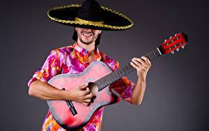 Hintergrundbilder Mann Grauer Hintergrund Gitarre Der Hut Hand Musik