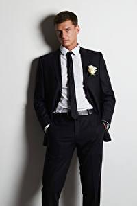 Wallpaper Men Gray background Suit Necktie Staring