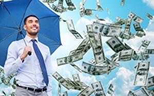Fonds d'écran Homme Monnaie Dollars Sourire Parapluie Cravate