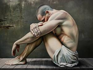 Fotos Mann Malerei Sitzend Glatze Bein Hand Christiane Vleugels