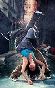Picture Men 2 Dance Brunette girl Hands Legs Hood headgear Girls
