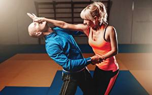 Images Men Two To beat Fight Bald Blonde girl Hands Singlet Sport Girls