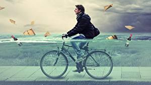 Desktop hintergrundbilder Mann Wasser Fahrrad
