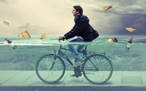 Bilder Mann Wasser Fahrrad