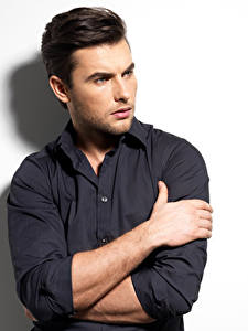 Image Men White background Hands Glance Formal shirt