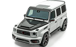 Bilder Mercedes-Benz Weißer hintergrund Sport Utility Vehicle Grau 2019 Mansory Star Trooper by Philipp Plein automobil