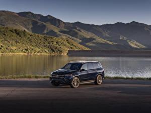 Bilder Mercedes-Benz SUV Blau Metallisch 2020 GLS 580 4MATIC AMG Line Autos