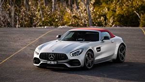 Photo Mercedes-Benz Silver color Roadster AMG 2018 GT C Cars