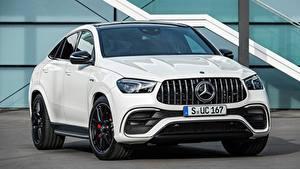 Bilder Mercedes-Benz Weiß Vorne Coupe Metallisch AMG, GLE 63 S 4MATIC Autos