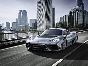 Desktop wallpapers Mercedes-Benz Motion Silver color AMG Project ONE automobile