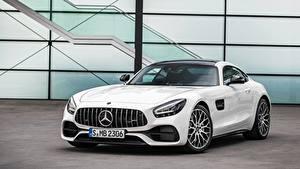 Fotos Mercedes-Benz Weiß Vorne Metallisch AMG gt, 2019 automobil