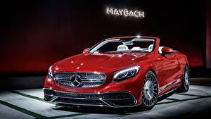 Hintergrundbilder Mercedes-Benz Maybach Rot Cabrio Vorne S 650, Cabriolet, 2017 auto