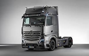 Hintergrundbilder Mercedes-Benz Lastkraftwagen Graue Metallisch