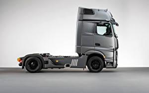 Hintergrundbilder Mercedes-Benz Lastkraftwagen Graues Metallisch Seitlich