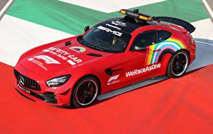 Desktop hintergrundbilder Mercedes-Benz Tuning Rot 2020 AMG GT R F1 Safety Car automobil