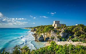 Bilder Mexiko Küste Ruinen Himmel Tulum, Quintana Roo Natur