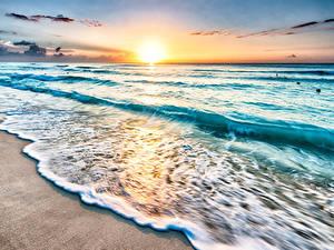 Fotos Mexiko Küste Landschaftsfotografie Sonnenaufgänge und Sonnenuntergänge Sonne Cancun Natur
