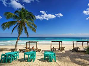 Desktop hintergrundbilder Mexiko Küste Himmel Strände Palmengewächse This Hip Hotel, Tulum, Quintana Roo Natur