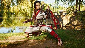 Hintergrundbilder Mikhail Davydov photographer Ninja Pose Rüstung Cosplay Kunoichi Mädchens