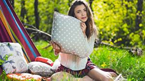Picture Mila Azul Brown haired Grass Pillows Staring Sweater Bokeh Sit young woman