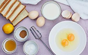 Pictures Milk Bread Lemons Plate Eggs Salt Bowl Food