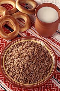 Bilder Milch Buchweizen Brei Teller Lebensmittel