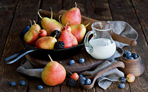 Pictures Milk Pears Blueberries Blackberry Wood planks Jugs Frying pan