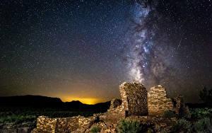 Fotos Milchstraße Ruinen Himmel Stern Nacht Kosmos