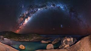 Hintergrundbilder Milchstraße Himmel Küste Nacht Kosmos