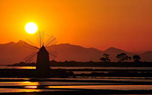 Fotos Mühle Sonne Silhouette