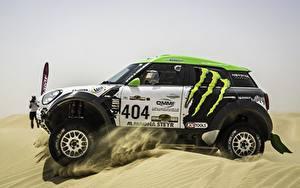 Bilder Mini Fahrzeugtuning Sand Bewegung Cooper Dakar X-raid sportliches Autos