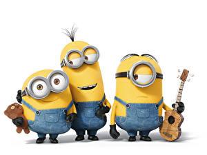 Hintergrundbilder Minions Gitarre Drei 3 Brille Zeichentrickfilm
