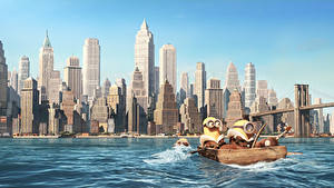 Hintergrundbilder Minions Wolkenkratzer Haus Meer Animationsfilm Städte