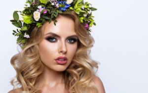 Pictures Model Beautiful Blonde girl Makeup Hair Wreath Glance Haircut White background young woman
