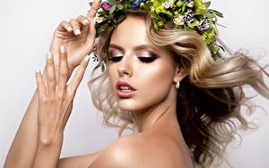 Picture Model Blonde girl Hands Face Makeup Hair Wreath Beautiful young woman