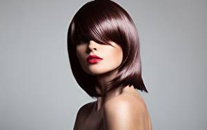Bilder Model Braunhaarige Frisuren Make Up Blick Grauer Hintergrund Mädchens
