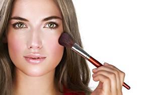 Bilder Model Gesicht Pinsel Make Up Starren Schöne junge Frauen