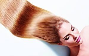 Hintergrundbilder Model Haar Make Up Weißer hintergrund Mädchens