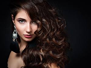 Wallpaper Modelling Makeup Staring Hair Brown haired Hairdo young woman