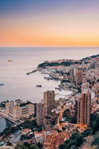 Desktop hintergrundbilder Monaco Monte-Carlo Haus Küste Von oben Städte