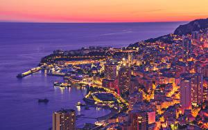 Bilder Monaco Monte-Carlo Morgendämmerung und Sonnenuntergang Küste Abend Gebäude Von oben Städte