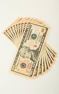 Hintergrundbilder Geld Geldscheine Dollars Weißer hintergrund 10