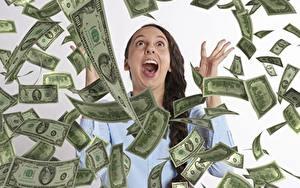 Fotos Geld Banknoten Dollars Viel Brünette Schreiendes junge frau
